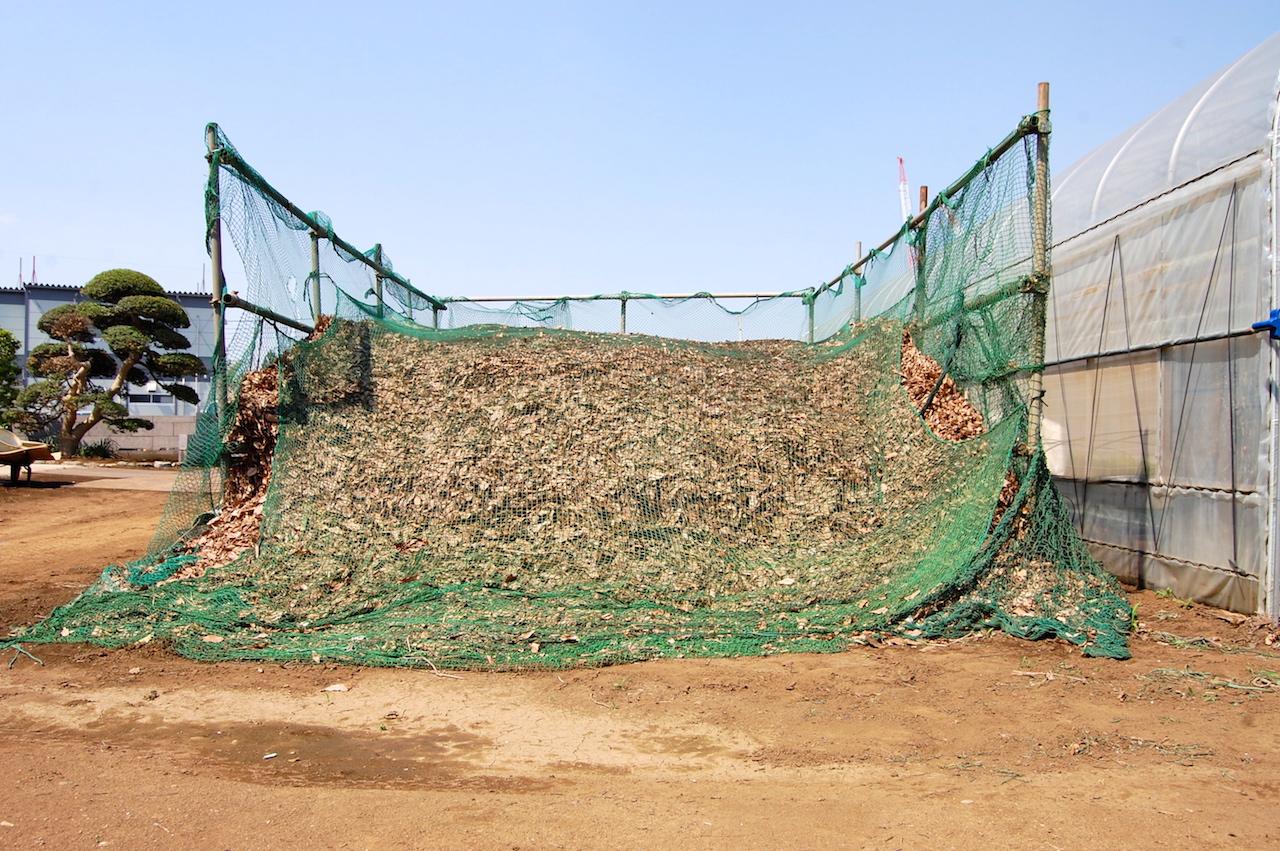 堆肥化中の落ち葉。登ってみるとフカフカで、中は発酵で熱いくらい