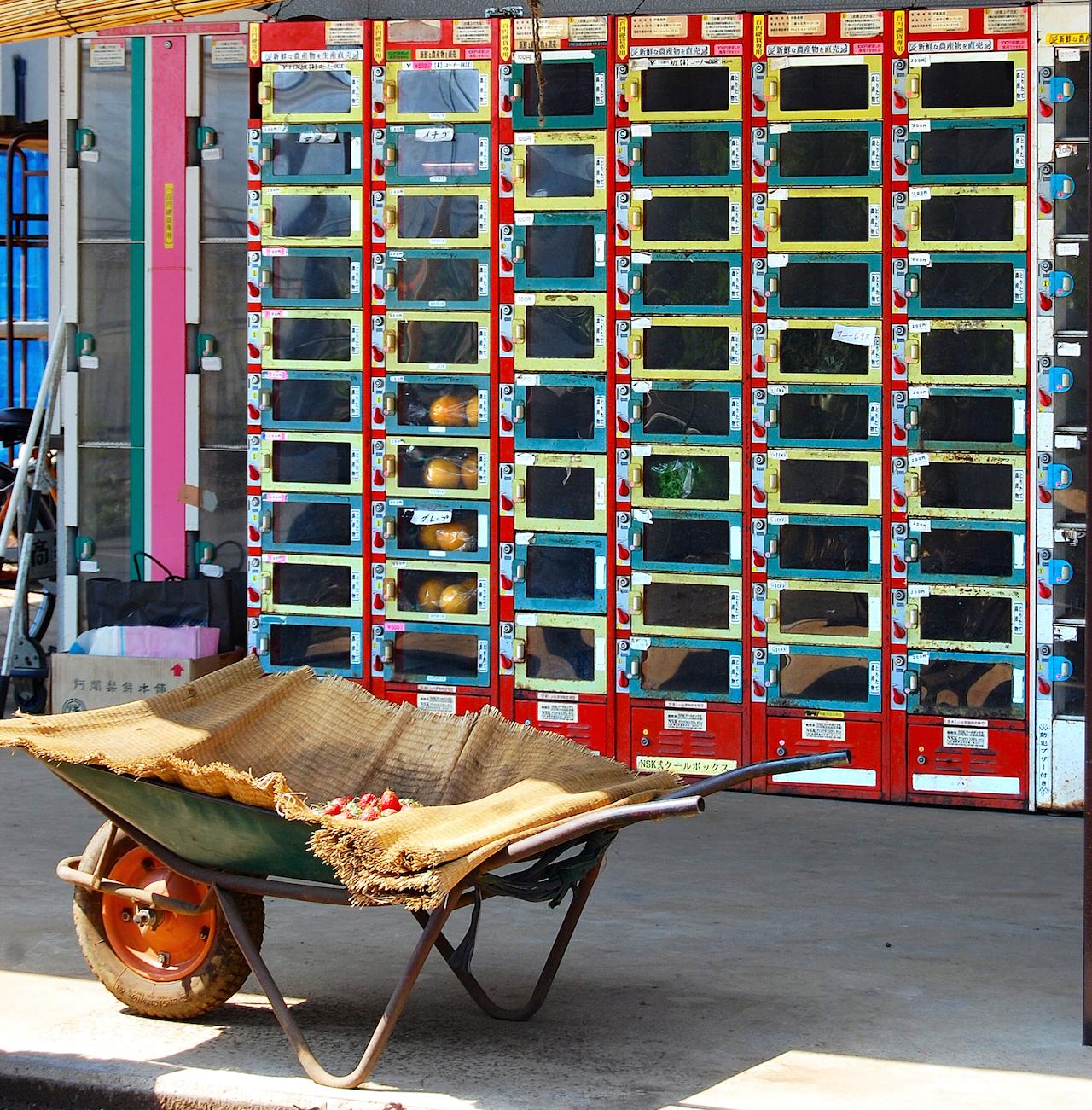 庭先の販売機には朝採れの品々が並ぶ