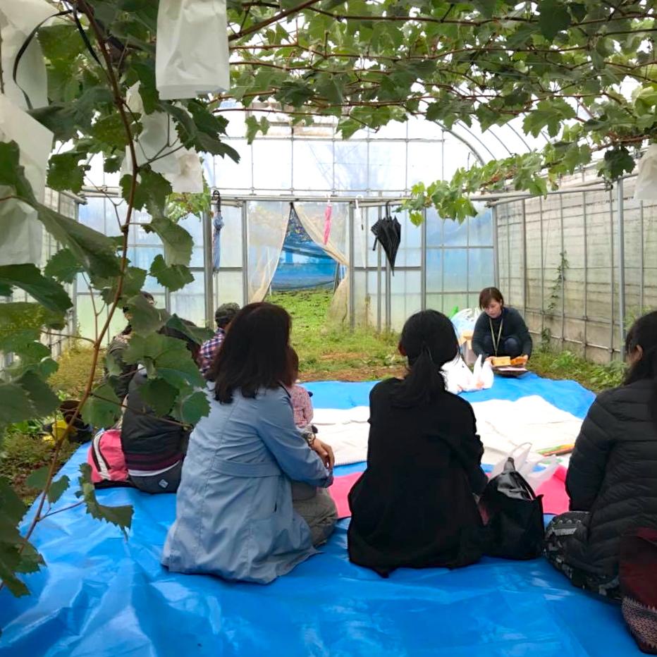 会場となった島田果樹園さんのビニールハウスは、入口を閉めるととても暖かく、冬に被災した際は一時避難場所に使われることも